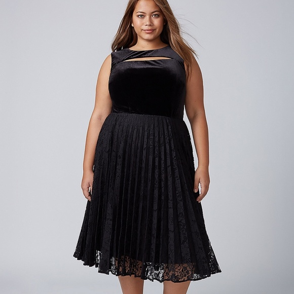 fa8807ae3f219 LANE BRYANT Black Velvet   Lace Pleated Midi Dress. NWT